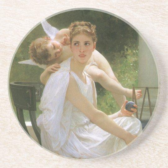 Vintage Angel Art, Work Interrupted by Bouguereau Sandstone Coaster