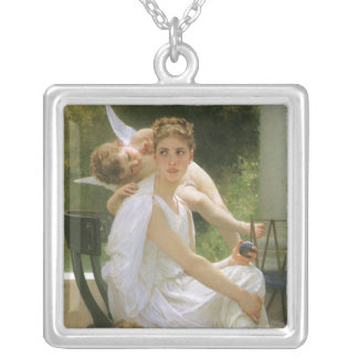 Vintage Angel Art, Work Interrupted by Bouguereau Silver Plated Necklace