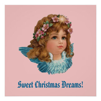 Vintage Angel Blue Wings Christmas Dreams CH404 Poster