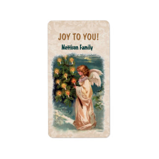 Vintage Angel Candles Christmas Tree Label