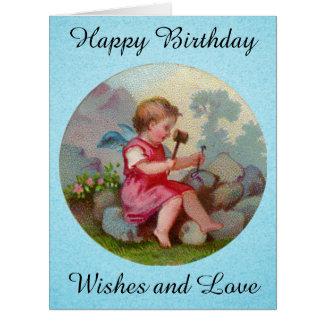 Vintage Angel Child Carving on Rock Large Greeting Card