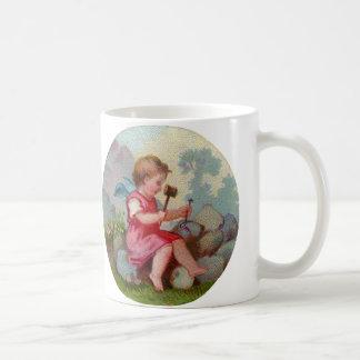 Vintage Angel Child Carving on Rock Classic White Coffee Mug
