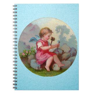 Vintage Angel Child Carving on Rock Notebook