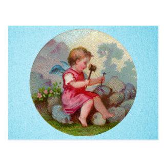 Vintage Angel Child Carving on Rock Postcard