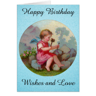 Vintage Angel Child Carving on Rock Stationery Note Card