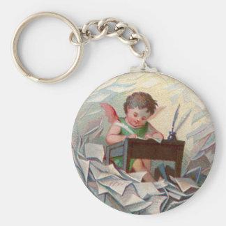 Vintage Angel Child Writing at Desk Keychain