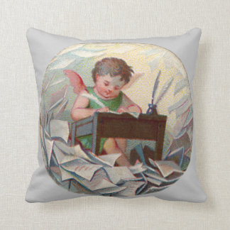 Vintage Angel Child Writing at Desk Throw Pillow