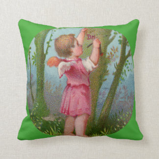 Vintage Angel Child Writing on Tree Pillow