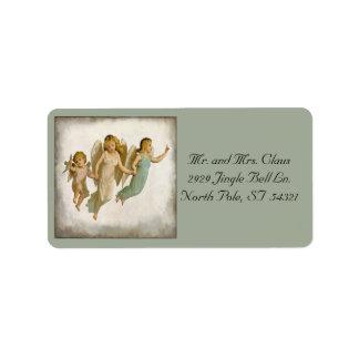 Vintage Angel Children Flying Christmas Holidays Label