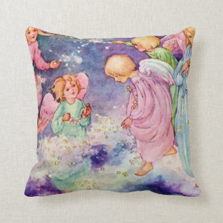 Vintage Angel Children Playing in the Stars Throw Pillow
