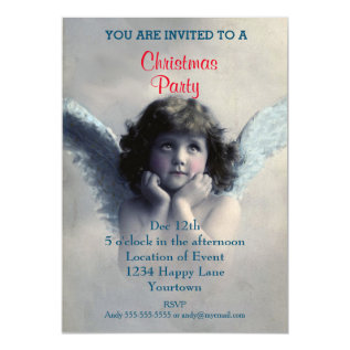 Vintage Angel Christmas Party Card at Zazzle