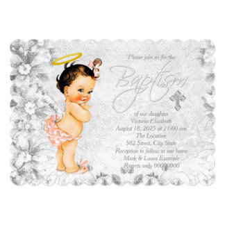 Vintage Angel Coral and Gray Baptism 5x7 Paper Invitation Card