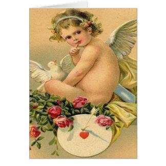 Vintage, ángel del Cupid, paloma y rosas Tarjeta De Felicitación