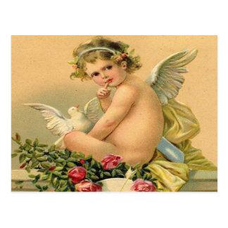 Vintage, ángel del Cupid, paloma y rosas Postal