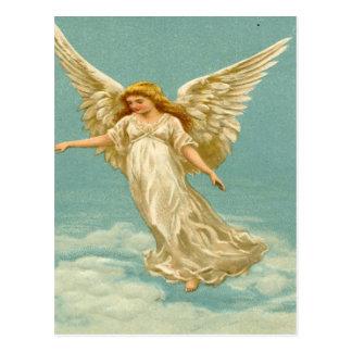 Vintage ángel en la nube postal