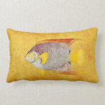 Vintage Angel Fish Antique Hawaiian Print Template Throw Pillow