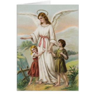 Vintage angel guardian angels and two children card