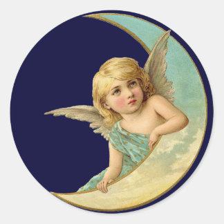 Vintage Angel in Moon Classic Round Sticker