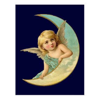 Vintage Angel in Moon Postcard