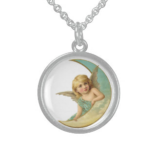 Vintage Angel in the Moon Sterling Necklace