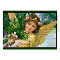 Vintage Angel In The Snow Christmas Holiday Card at Zazzle