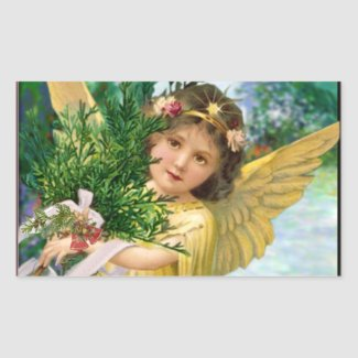 Vintage Angel In The Snow Christmas Rectangular Sticker