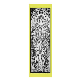 Vintage - ángel medieval del estilo póster