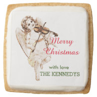 Vintage Angel Merry Christmas Square Premium Shortbread Cookie