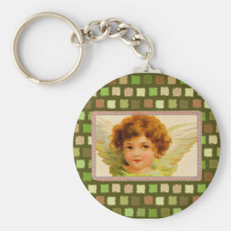 Vintage Angel Mosaic Colored Squares Wings Angelic Keychain