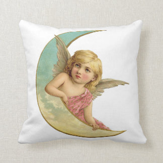 Vintage Angel on Crescent Moon Pillow