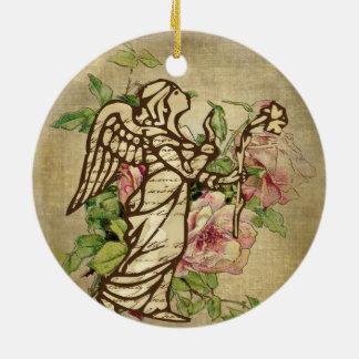 Vintage Angel on Rose Background Ceramic Ornament