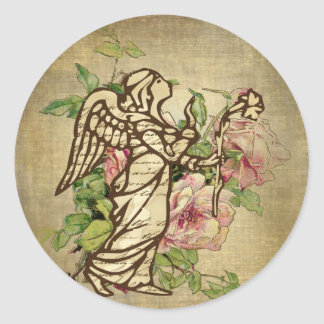 Vintage Angel on Rose Background Classic Round Sticker