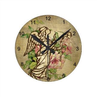 Vintage Angel on Rose Background Round Clock