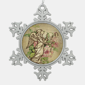 Vintage Angel on Rose Background Snowflake Pewter Christmas Ornament