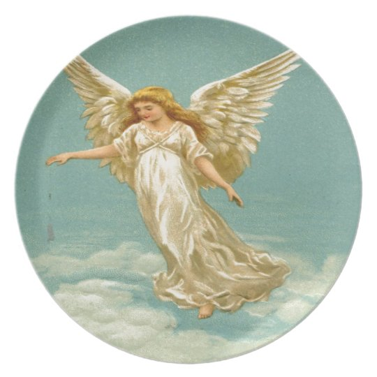 Vintage, Angel on The Cloud Melamine Plate