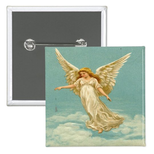 Vintage, Angel on The Cloud Pinback Button
