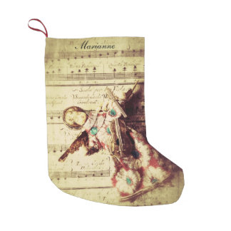 Vintage angel ornament on music small christmas stocking