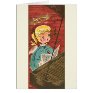 Vintage Angel Pianist Christmas Greeting Card