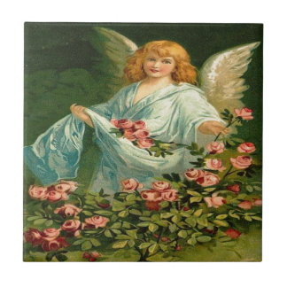 Vintage, Angel & Pink Roses Small Square Tile
