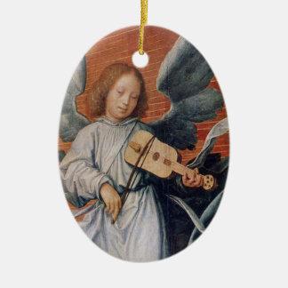 Vintage angel playing violin christmas ornament