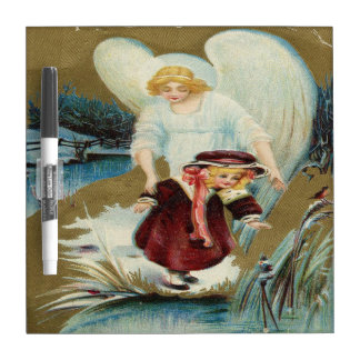 Vintage Angel Protecting Little Girl Dry-Erase Whiteboard
