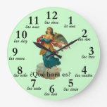 Vintage Angel Spanish Time Numbers Clock