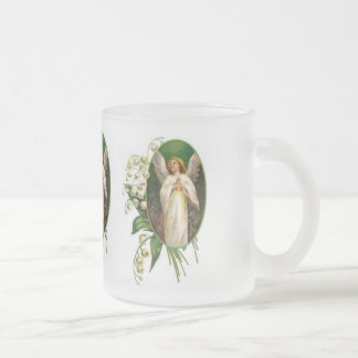 Vintage Angel Statue Frosted Glass Coffee Mug