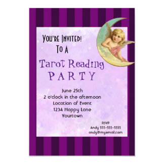 Vintage Angel Tarot Reading Party 5x7 Paper Invitation Card