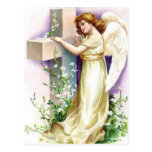 Vintage Angel With Christian Cross Post Card