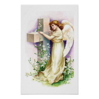 Vintage Angel With Christian Cross Poster