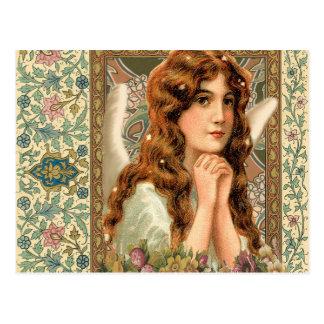Vintage Angel with Flowers Postcard