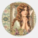 Vintage Angel with Flowers Round Sticker
