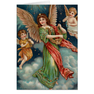 Vintage Angel With Harp and Two Cherubs Greeting Card