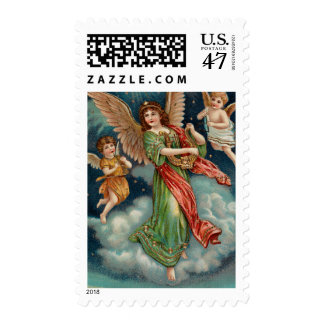 Vintage Angel With Harp and Two Cherubs Postage